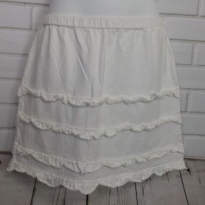 Ann Taylor Loft White Cotton Ruffle Skirt Small